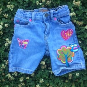 Denim With Patches Bermuda Shorts